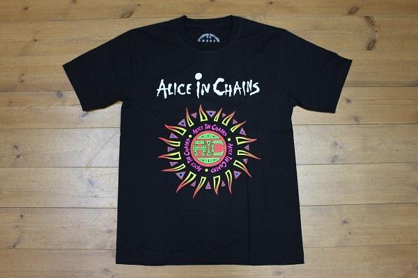 ★新品・送料無料★Alice In Chains Tee アリスインチェインズTシャツ/ブラック/海外M(日本L相当) ロックT バンドT 半袖