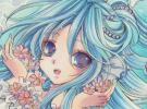 同人手描きイラスト・オリジナル『花クラゲの海』