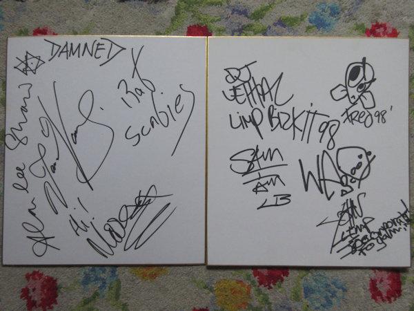 ☆ダムド+リンプビスキット+ウィルコジョンソン+フーファイターズ他 直筆サイン色紙6枚!
