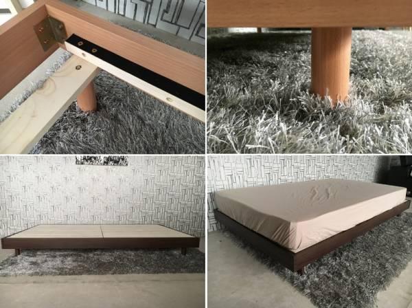 送料無料 ダブルベッド 新品 すのこベッド ロングタイプ210㎝ 分散耐荷重300㎏ ベッド フラット ナチュラル色 (一部地域送別)_画像3