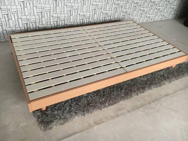 送料無料 ダブルベッド 新品 すのこベッド ロングタイプ210㎝ 分散耐荷重300㎏ ベッド フラット ナチュラル色 (一部地域送別)