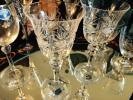 セカイモノ アンティーク チェコ製 ヴィンテージ ボヘミア ワイングラス クリスタル ダイヤカット ペア/多国籍雑貨