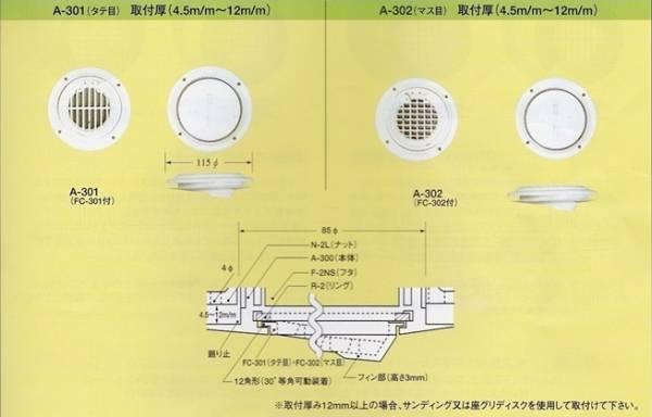 イケダ式スカッパー 水流調整3インチ(マス目)「A-302」_画像1