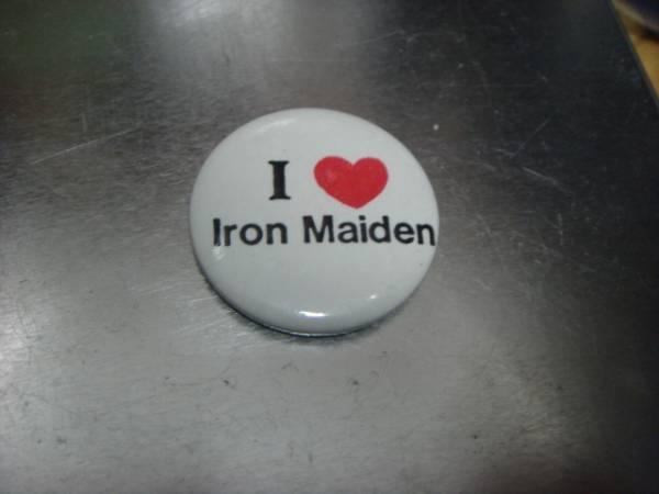 1707ビンテージ80's DEADデッドストックI LOVE IRON MAIDENアイアンメイデン缶バッチOLDオールド ピンズ