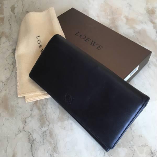 美品 ロエベ ナッパレザー ブラック 長財布 柔らかな手触り箱 袋 付き
