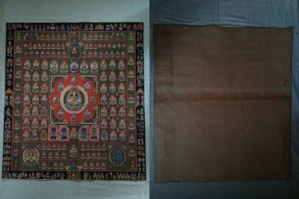 珍品 卍 仏教美術  『 胎蔵界 曼荼羅  細密画 』真言宗 仏画 ●複製 大日 密教 90cm_画像3