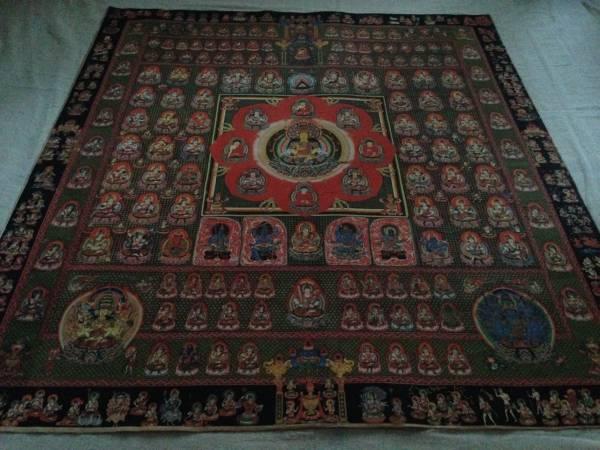 珍品 卍 仏教美術  『 胎蔵界 曼荼羅  細密画 』真言宗 仏画 ●複製 大日 密教 90cm_画像2