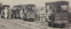 ☆【絵葉書 鉄道 人車鉄道 トロッコ 軌道 朝鮮 戦前】平壌人車鉄道