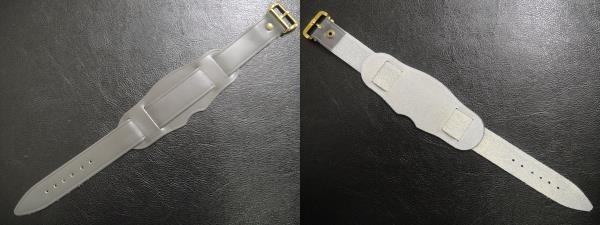 デッドストック ビンテージ 本 革 レザー ストラップ 腕時計 ウォッチ ベルト Gray グレー 金 取り付け幅は16mm/18mmから選べます。_画像2