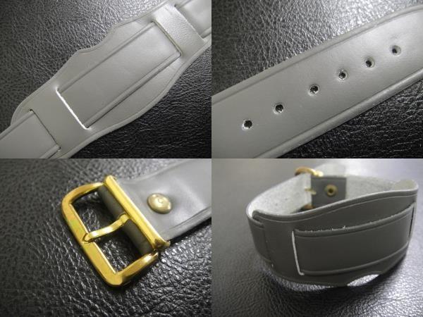 デッドストック ビンテージ 本 革 レザー ストラップ 腕時計 ウォッチ ベルト Gray グレー 金 取り付け幅は16mm/18mmから選べます。_画像3