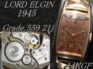 1945年製 LORD ELGIN Grade.559 21石 14金張り アンティーク ロード エルジン 手巻き腕時計 ※ デッドストック (未使用品)風防に交換済み!
