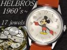 Character Wristwatch - 美品!1960年代製 ビンテージ HELBROS ヘルブロス ミッキーマウス17石手巻腕時計 アンティーク ウォッチ※未使用風防へ交換済!