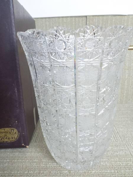 超美品ボヘミア(Bohemia) クリスタルガラス 花瓶 ハンドカット 500PK_画像1
