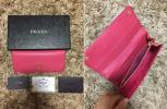 希少新型 正規美品 プラダ PRADA ジップ 長財布 札入れ カード入れ レザー ピンク サフィアーノ