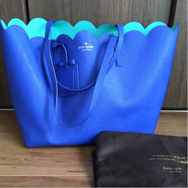 【大人気】ケイトスペード トートバッグ ブルー マザーズバッグ 本物 used_大容量で爽やかなお色です