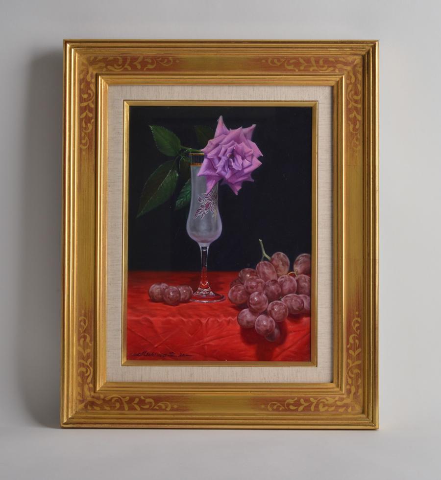 三嶋哲也 赤いテーブル(デリーラとグローコールマン)1995年 初期作品 油画 油彩 F4
