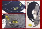 人気版画家 井堂雅夫 『姉妹』 137/150 直筆サインあり 珍しい猫の木版画です