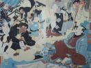 /HANA/本物 浮世絵 浮世又平名画奇特 二枚続 歌川国芳画!木版画 大判 錦絵