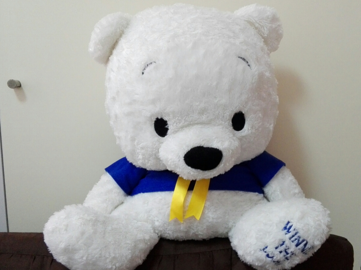 大きなくまのプーさんぬいぐるみ Winnie the pooh ★白色クリスマスバージョン★アミューズメント景品 ディズニーグッズの画像