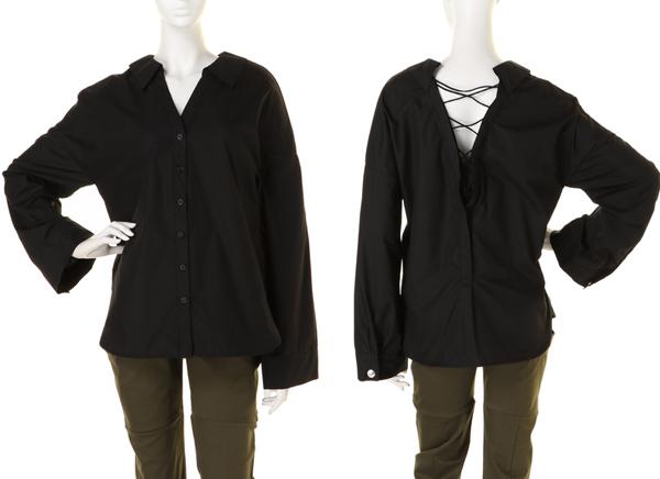 新品 BARAK バラク 2WAYレースアップシャツ ブラック size FREE
