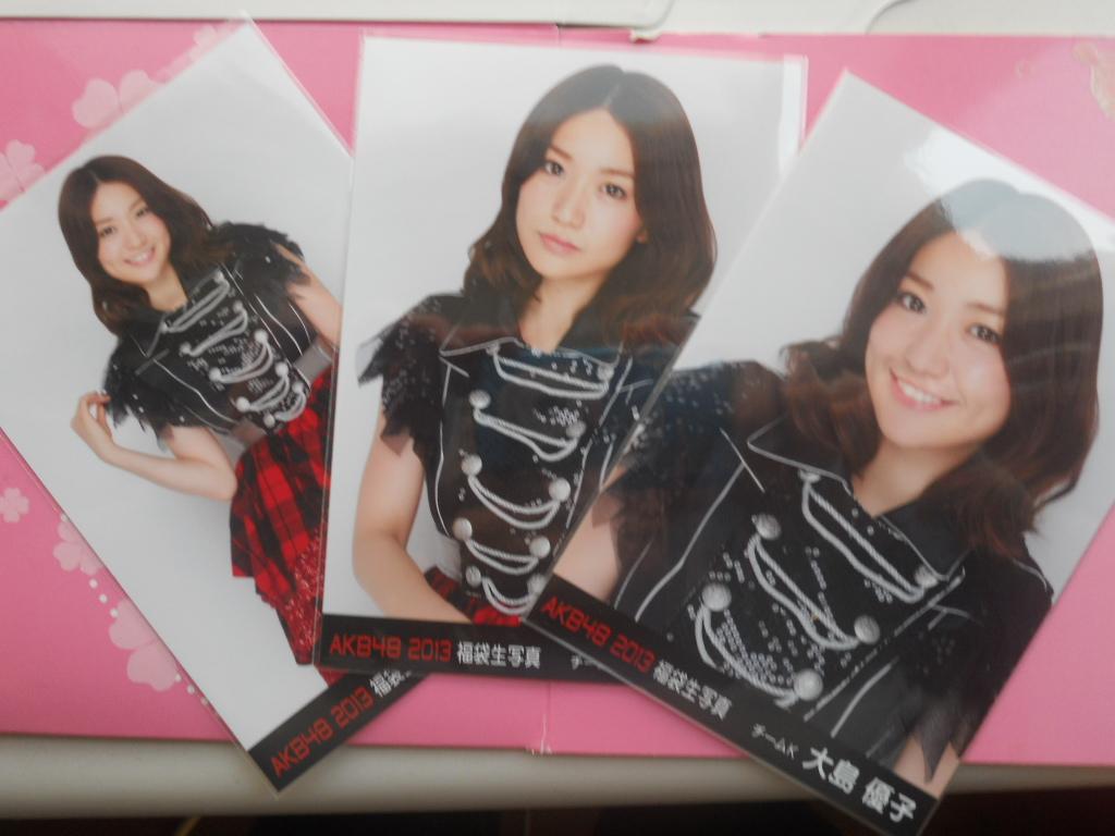 AKB 大島優子 2013 福袋生写真 3枚コンプ 白黒赤ドレス