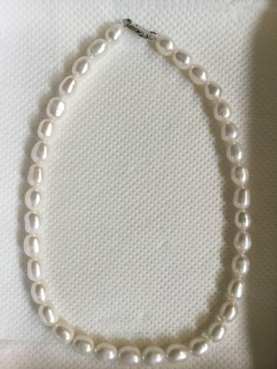 激安い 大粒米珠淡水真珠9~10mm ネックレス(約) 42cm人気の色合い ホワイト