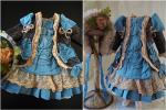 ジャケットドレスとボネのセット アンティーク ドール 帽子コスチューム衣装フレンチ ジュモー 布花リボン ビンテージ エポック ベルベット