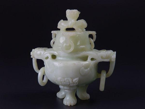 中国古玩 唐物 緑玉石 遊環香炉 細密細工 時代物 極上品 初だし品
