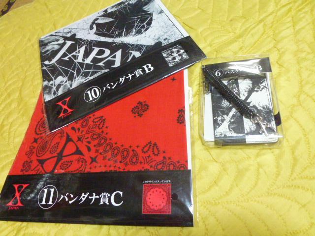 XJAPAN Yoshiki hide PATA Toshi heath ローソンクジ パスケース バンダナ3点セット ライブグッズの画像