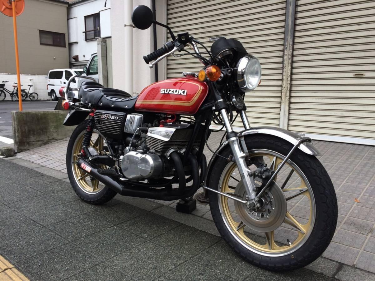 【東京】スズキ GT380 車検約1年半付 純正マフラー 純正ホイール 純正ヘッドライト トマ