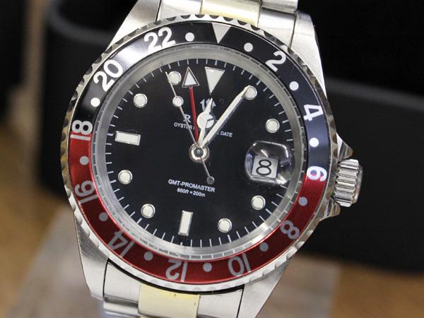 ロックス RXW オイスターパーペチュアルデイト ROCKX RXW GMT PROMASTER 黒文字盤 黒赤ベゼル 男性用自動巻腕時計 本物保証 正規品