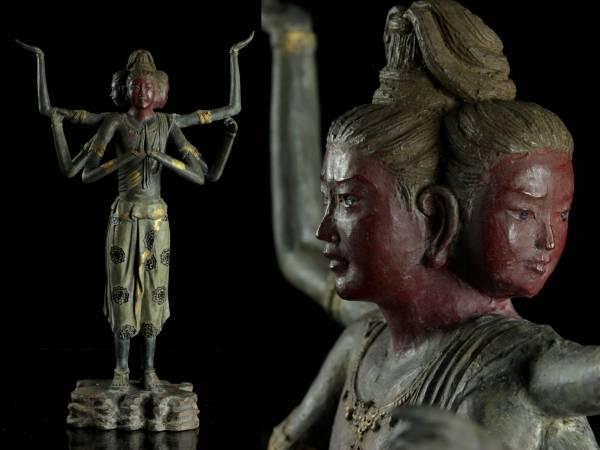 ◆廻◆ 高岡名工 喜多敏勝 銅製 阿修羅像 41cm 4390g 箱付 仏像骨董 [Y147.2]Vc2