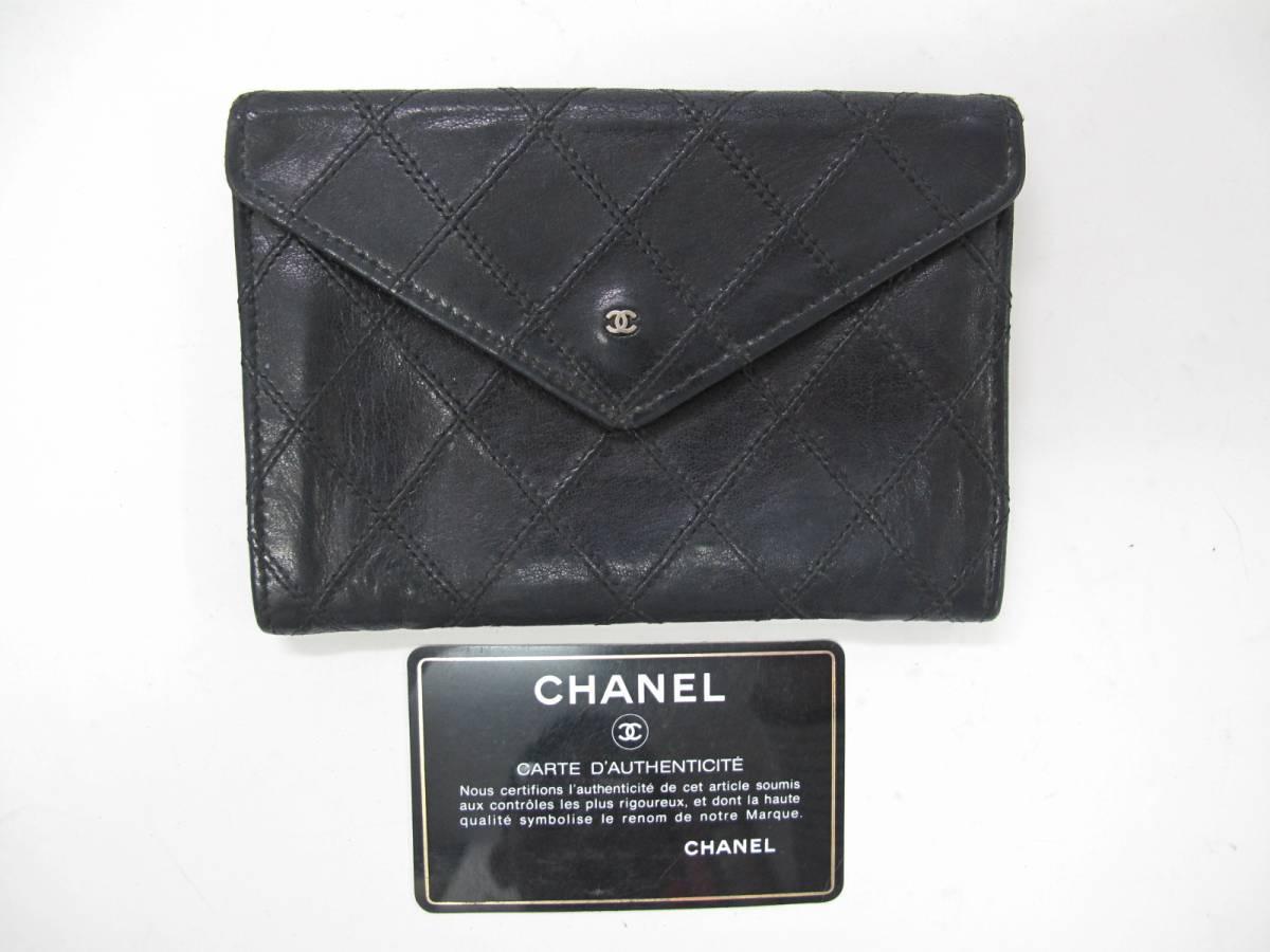 シャネル ヴィンテージ ホック財布 ファスナー式小銭入れ 薄型 黒 定形外郵便可
