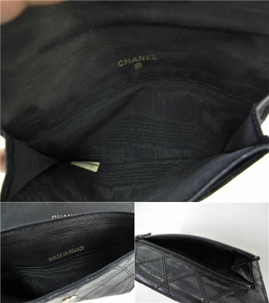 シャネル ヴィンテージ ホック財布 ファスナー式小銭入れ 薄型 黒 定形外郵便可_画像3