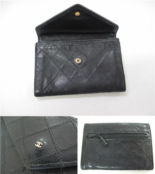 シャネル ヴィンテージ ホック財布 ファスナー式小銭入れ 薄型 黒 定形外郵便可_画像2