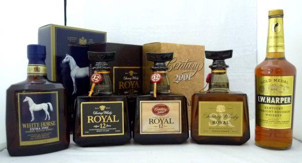 WHITE HORSE EXTRA FINE/Suntory Whisky ROYAL 12年/Suntory Whisky ROYAL 12年 Century 2001/Suntory Whisky ROYAL SR 他 計5本 2PZZ-062I
