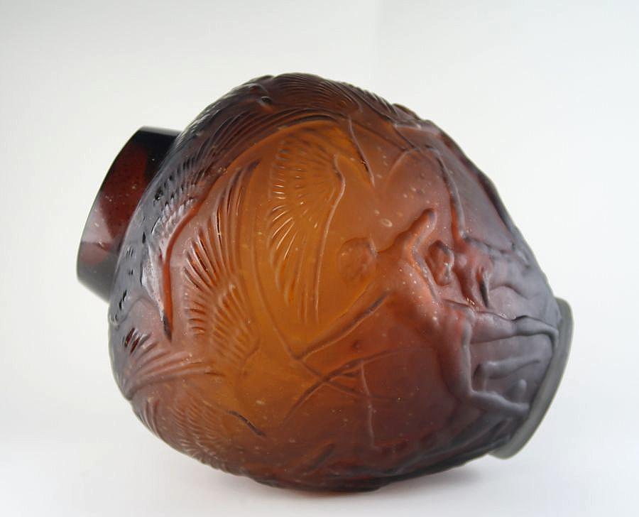 【特別出品】 ルネ ラリック 「ARCHER」 琥珀透明ガラス花瓶 1921年製 RENE LALIQUE_画像2