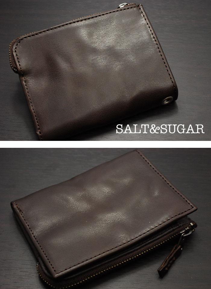 ソルト&シュガー SALT&SUGAR 財布≪レザー二つ折りウォレット ウォッシャブルダメージ加工 PI-2822-CH チャコール/ブラウン≫シンプル_画像1