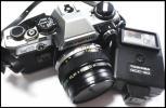 ★【1円スタート】OLYMPUS OM10 フィルムカメラ TOSHIBA QCC-20 フラッシュ付 バッテリー確認済