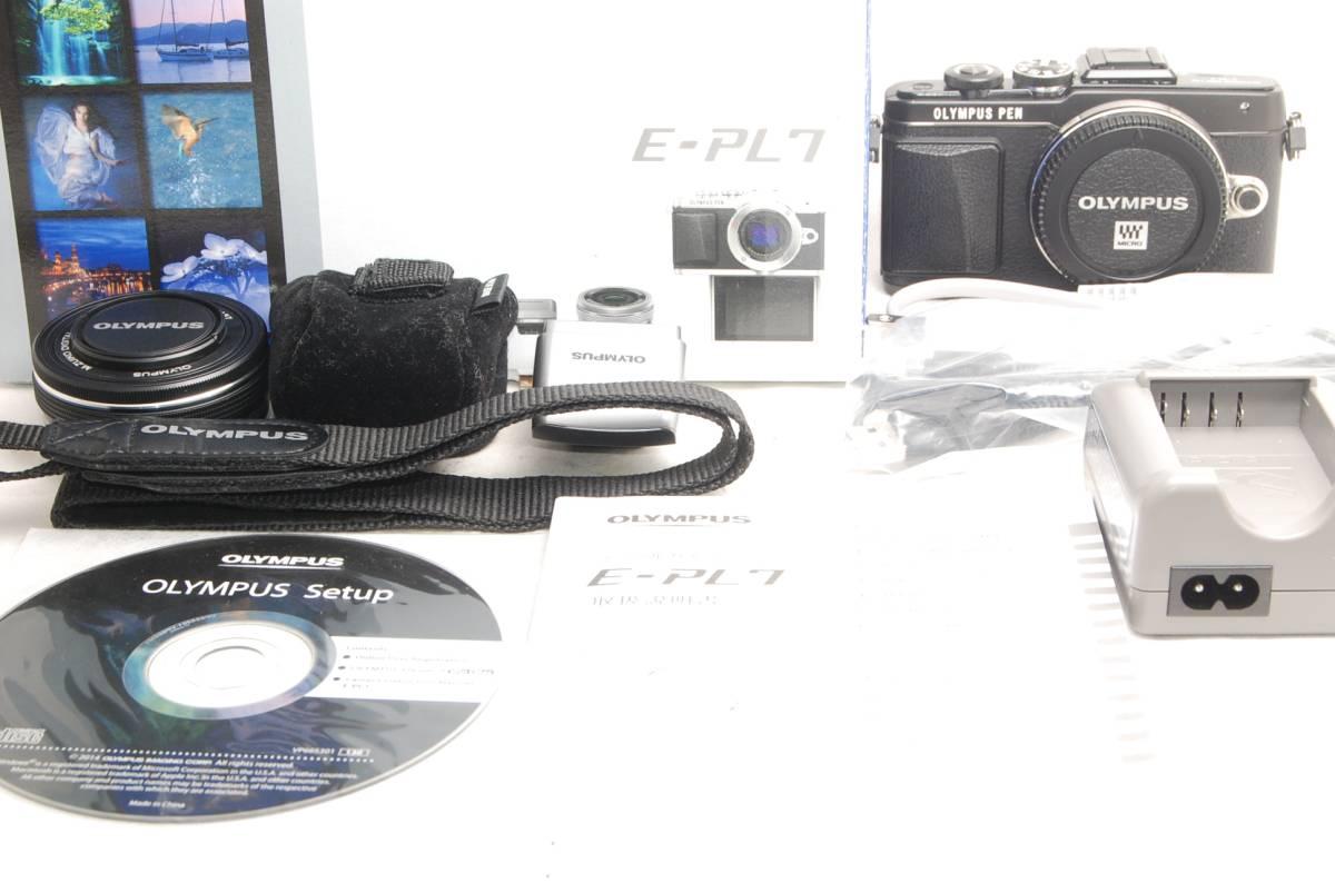 ★新品級!!★OLYMPUS オリンパス PEN Lite E-PL7 14-42mm レンズキット ブラック うれしい元箱+豪華付属品