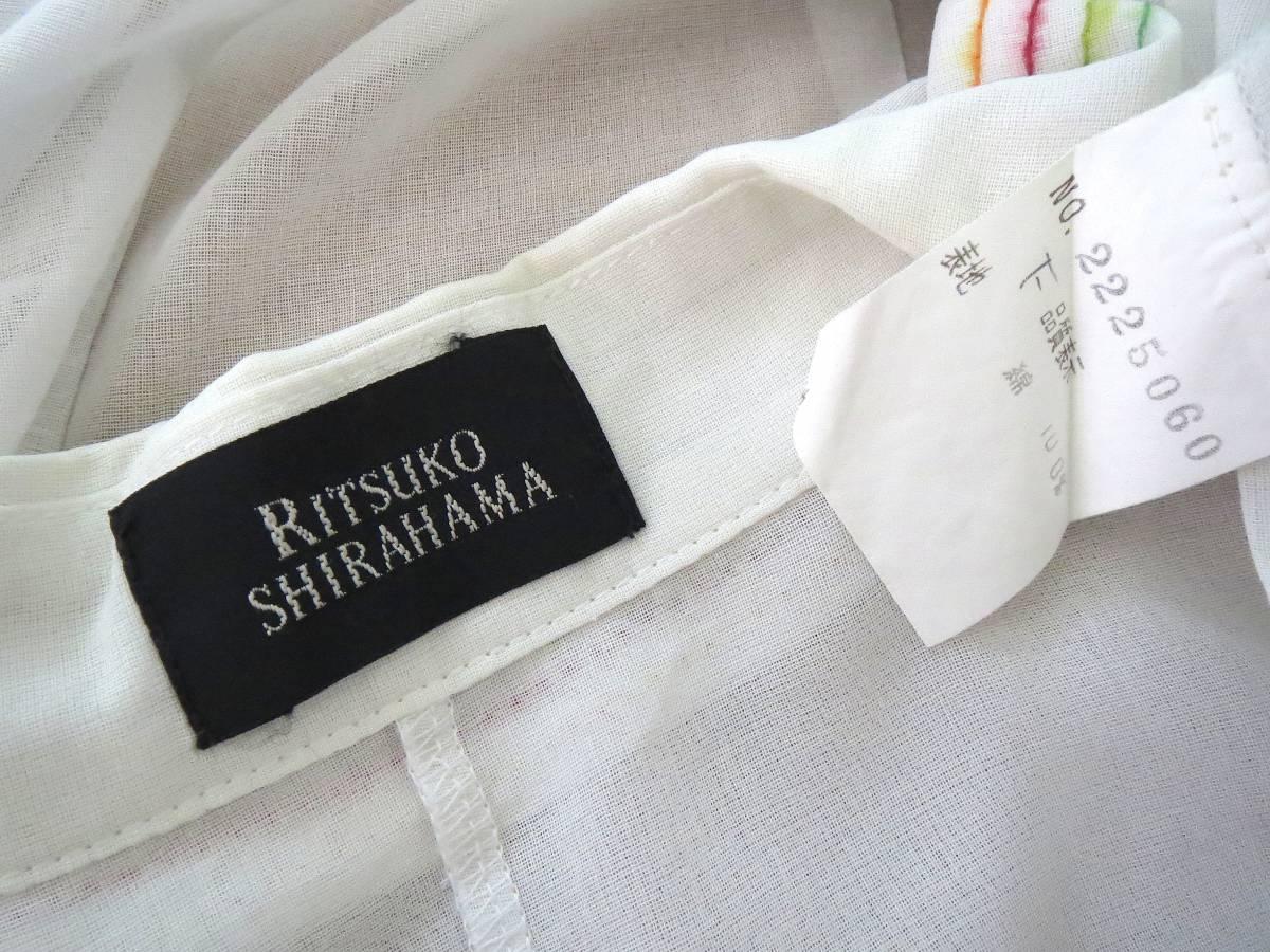 ★R63 日本製♪RITSUKO SHIRAHAMA リツコシラハマ♪ 綿100%!!花柄刺繍入の白ブラウスシャツ♪ 長袖 コットン トップス ホワイト_画像3