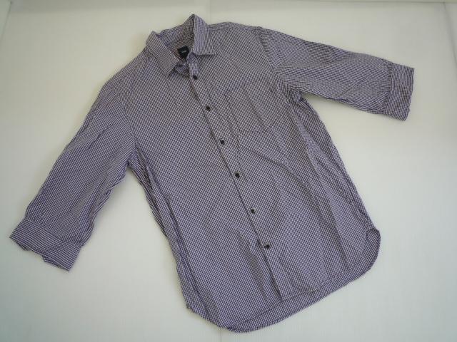 【お得!!】■ギャップ/Gap■ 7分袖シャツ 紫 チェック メンズ XS