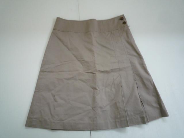 【お得!!】■グリーンレーベルリラクシング/green label relaxing■ 台形スカート ベージュ 膝丈 38_画像1