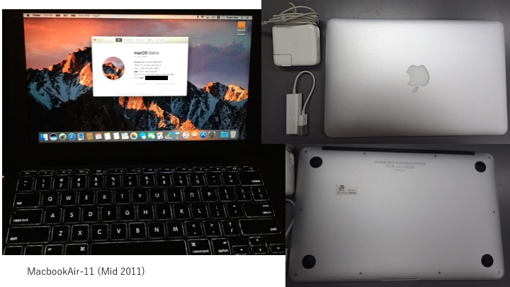 MacBook Air-11 (mid 2011), 1.6GHz Core-i5, 4GB Mem, 480GB SSD換装, US-keyboard