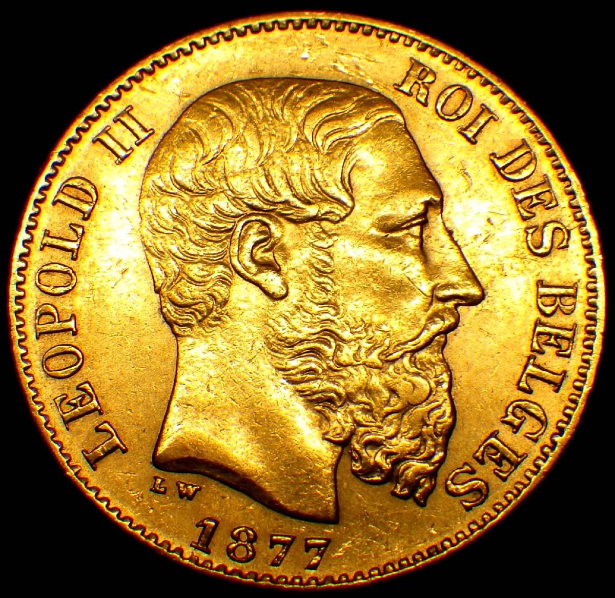 1877年 ベルギー 20フラン金貨 レオポルト2世_画像2