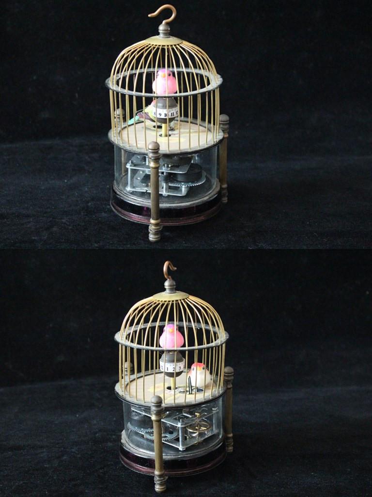 貴重 極上品 製 鳥籠 置時計 アナログ 手巻き82201