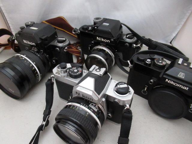 550☆ニコン ジャンク扱 Nikon F2 ZOOM NIKKOR 28-45mm 4.5/FM 50mm 1.4/Nikomat EL/F2 NIKKOR-S AUTO 35mm 2.8 フォトミック/カメラ
