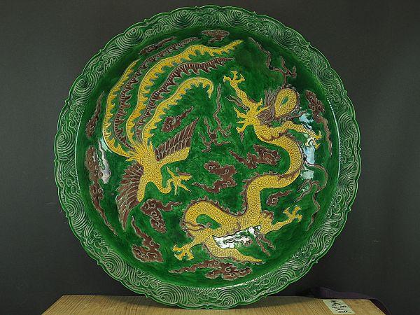 中国古玩 清時代 素三彩龍鳳凰図大皿 直径約52cm 木箱付 唐物