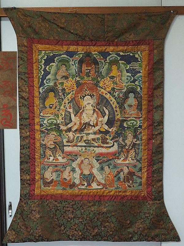 中国 清時代 チベットタンカ 古仏画 在銘 絹本 肉筆保証 縦約115cm×横約90cm