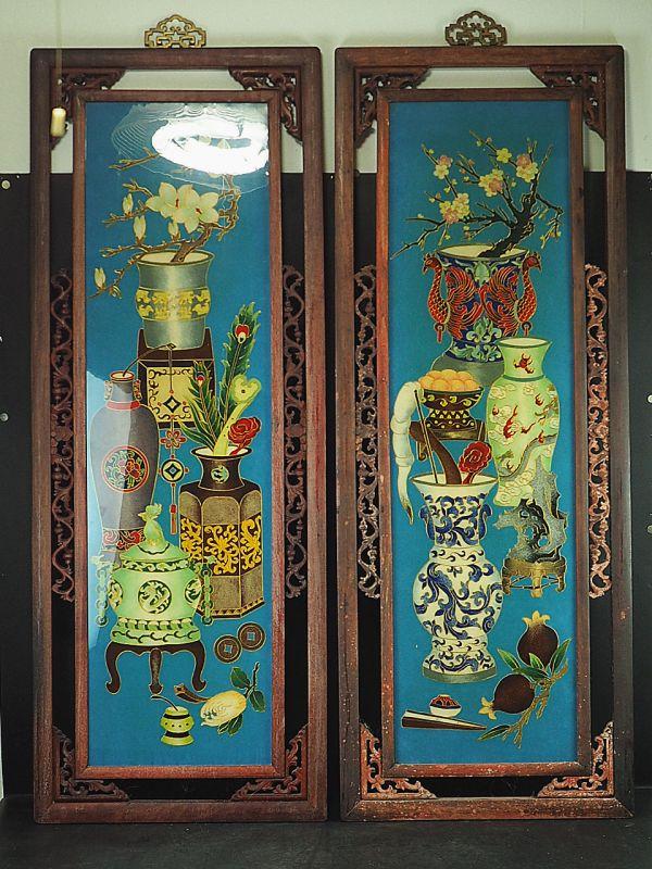 中国古玩 清時代 掏絲琺瑯花紋掛屏 2点 唐木 紫檀框 特大 高さ約105cm 中国七宝